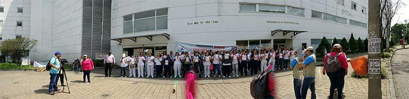 Nuevo plantón en la Clínica Esimed de La 80 en Medellín