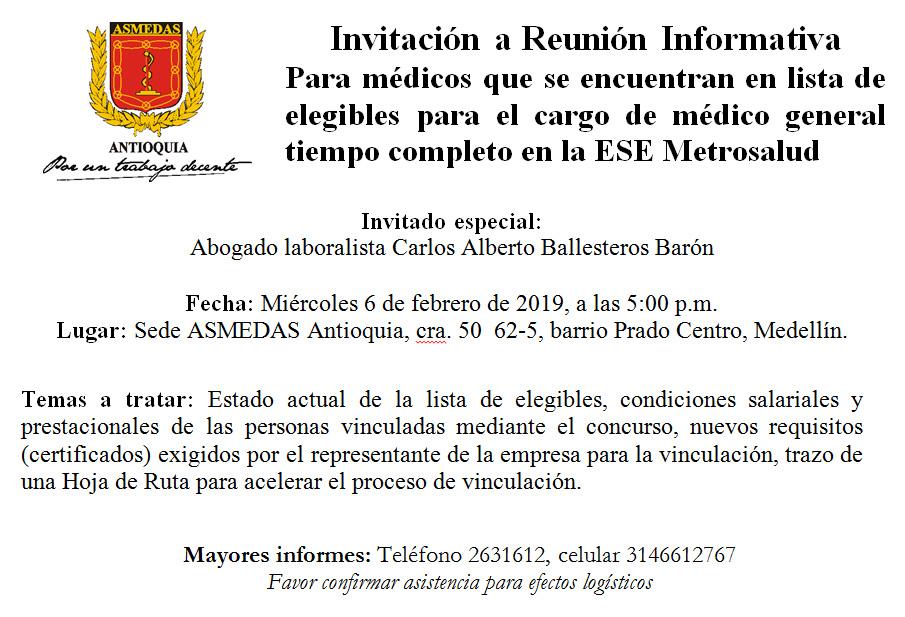 Invitación A Reunión Informativa Asmedas Antioquia
