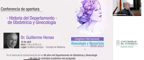 Conferencia inaugural en la celebración de los 90 años del Departamento de Ginecología y Obstetricia de la U. de A.